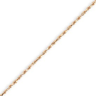 14K Rose Gold 1.5mm Diamond Cut Rope Bracelet