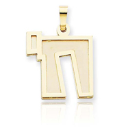 14K Two-Tone Gold Solid Satin Chai Charm