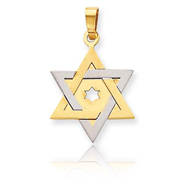 14K Two-Tone Gold Star Of David Pendant