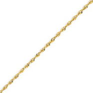 14K Gold 2.0mm Diamond cut Extra-Lite Rope Chain