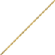 14K Gold 2.14mm Diamond Cut Extra-Lite Rope Chain