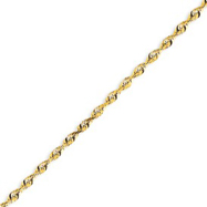 14K Gold 2.82mm Diamond Cut Extra-Lite Rope Chain