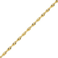 14K Gold 3.47mm Diamond Cut  Extra-Lite Rope Chain