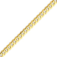 14K Gold  5.75mm Beveled Curb Bracelet