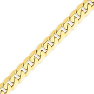 14K Gold 7.25mm Beveled Curb Bracelet
