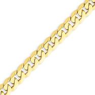 14K Gold 7.25mm Beveled Curb Chain