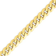14K Gold 8.75mm Beveled Curb Bracelet