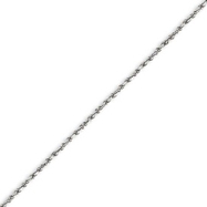 14K White Gold 1.2mm Machine-made Rope Anklet