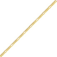 14K Gold 2.25mm Flat Figaro Bracelet