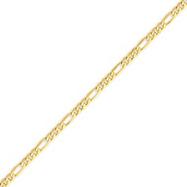 14K Gold 3.25mm Flat Figaro Bracelet