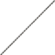 14K White Gold 1.40mm Solid Diamond Cut Machine-Made Rope Chain