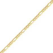 14K Gold 4mm Flat Figaro Bracelet
