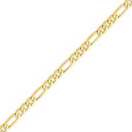 14K Gold 4.75mm Flat Figaro Link Bracelet