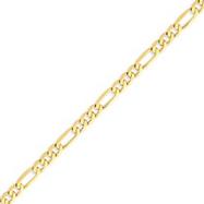 14K Gold 5.25mm Flat Figaro Bracelet