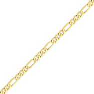 14K Gold 5.25mm Flat Figaro Chain