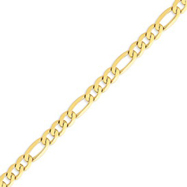 14K Gold 7.5mm Flat Figaro Bracelet