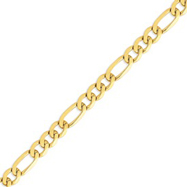 14K Gold 10mm Flat Figaro Chain