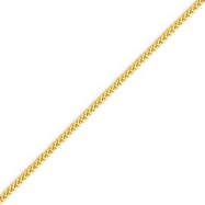 14K Gold 1.3mm Franco Bracelet