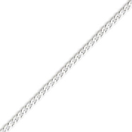 14K White Gold 2.9mm Flat Curb Chain