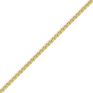 14K Gold  2.5mm Flat Wheat Bracelet