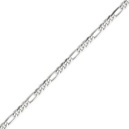 14K White Gold 4.0mm Flat Figaro Bracelet