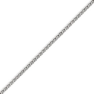 14K White Gold 2.5mm Flat Wheat Bracelet