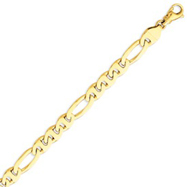 14K Yellow Gold 8.75mm Polished Fancy Figaro Link Bracelet
