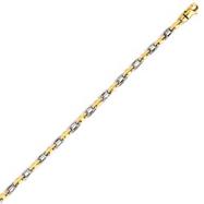 14K Two-Tone Gold 3.5mm Fancy Link Bracelet