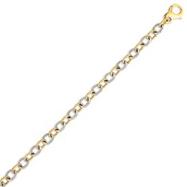 14K Two-Tone Gold 6.5mm Fancy Link Bracelet