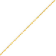 14K Yellow Gold 1.1mm Singapore Anklet