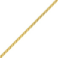 14K Yellow Gold 3mm Round Wheat Chain