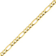 14K Gold 6mm Concave Open Figaro Bracelet