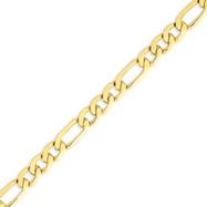 14K Gold 8.75mm Concave Open Figaro Link Bracelet