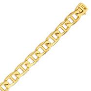 14K Gold 13mm Hand-polished Anchor Link Bracelet