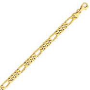 14K Gold 7mm Hand-Polished Figaro Link Bracelet