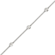 14K White Gold Diamond Rolo Bracelet