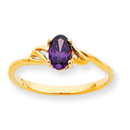 14K Gold February Amethyst Birthstone Ring
