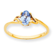 14K Gold March Aquamarine Birthstone Ring