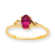 14K Gold July Ruby Birthstone Ring
