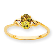 14K Gold August Peridot Birthstone Ring
