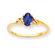14K Gold September Sapphire Birthstone Ring