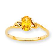 14K Gold November Citrine Birthstone Ring