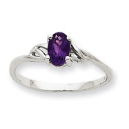 14K White Gold February Amethyst Birthstone Ring