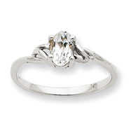 14K White Gold April White Topaz Birthstone Ring