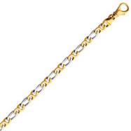 14K Two-Tone Gold 4.8mm Polished Fancy Link Bracelet