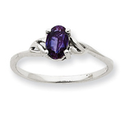 14K White Gold June Garnet Birthstone Ring