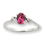 14K White Gold October Pink Tourmaline Peridot Birthstone Ring