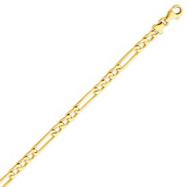 14K Gold Polished Figaro Link Bracelet