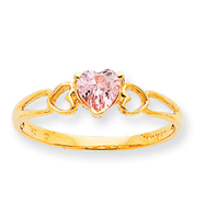 14K Gold October Pink Tourmaline Birthstone Ring