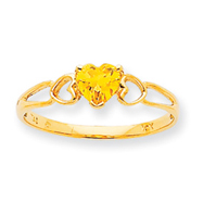 14K Gold November Citrine Birthstone Ring